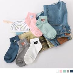 0724新品【特價款】韓國可愛動物刺繡短筒襪.5色(任3入198)