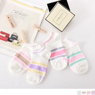 0724新品【特價款】韓國馬卡龍配色線條船型襪.4色(任3入198)