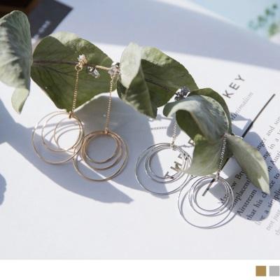 精緻水鑽綴立體鏤空圓形造型金鏈垂墜耳環.2色