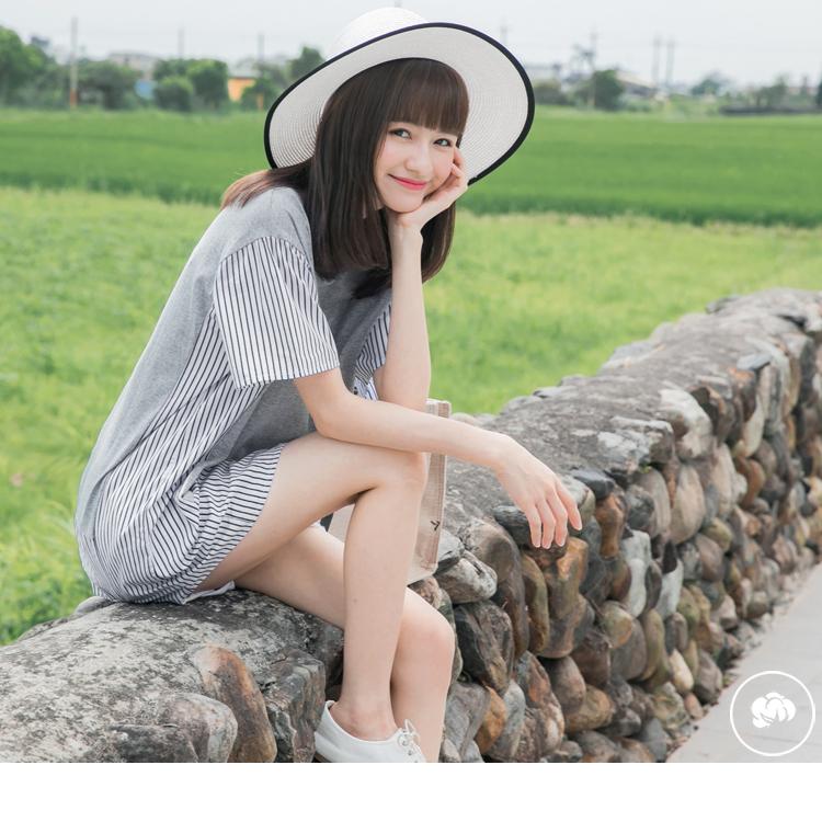 假兩件異材質直條紋拼接純色高棉寬袖上衣