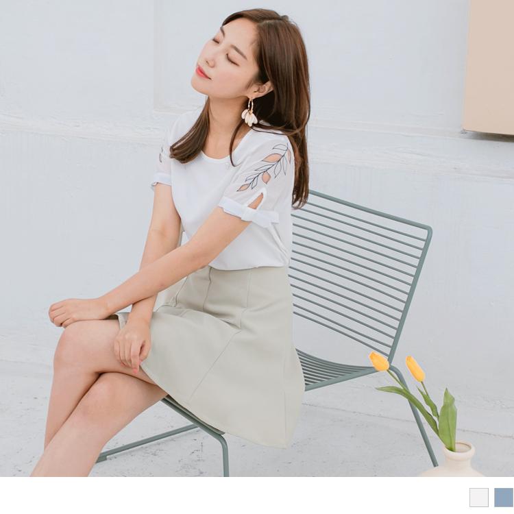 袖鏤空葉子刺繡拼接純色綴珍珠雪紡上衣