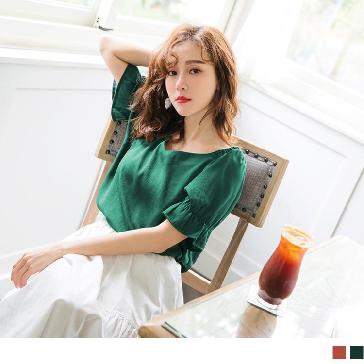 質感純色造型V領鬆緊短袖上衣