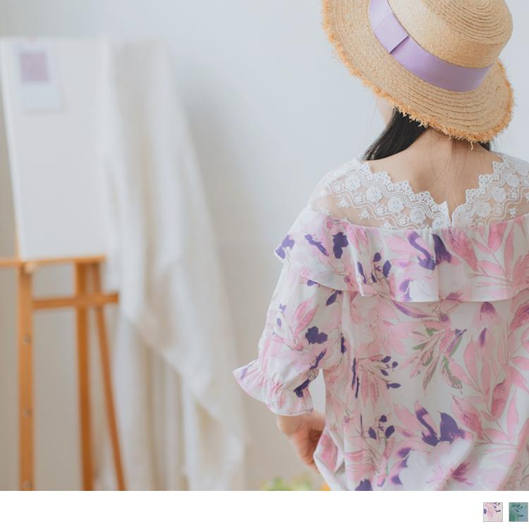 雪紡柔美花卉印花荷葉邊設計拼接V領蕾絲短袖上衣