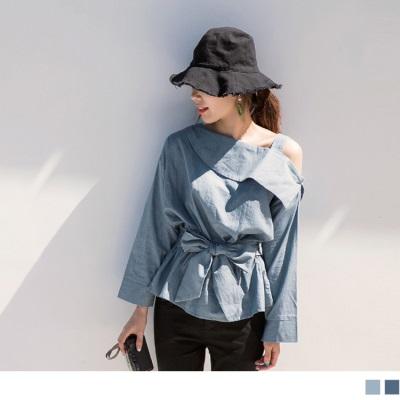 0920新品 高含棉蝴蝶腰單邊露肩上衣