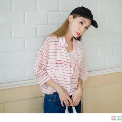 0930新品 英文印字拼接條紋開襟襯衫假兩件上衣.2色