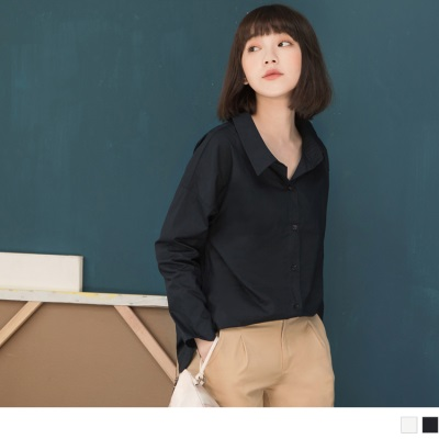 【新品折20】素色隨興感寬鬆落肩長版襯衫.2色