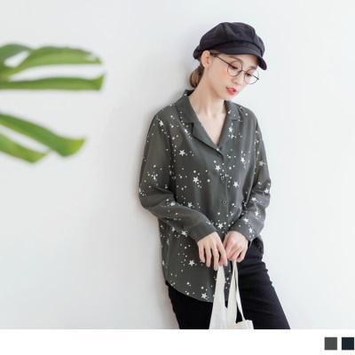 【新品免運】滿版星星長版雪紡襯衫.2色