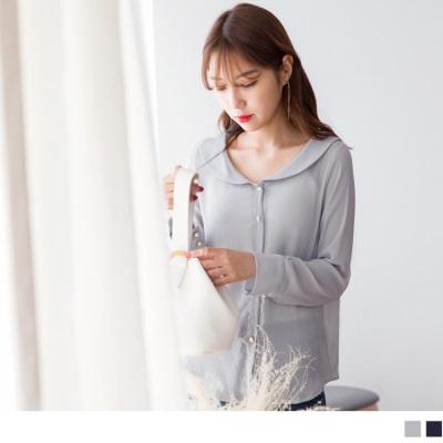 【新品折20】造型領綴珍珠釦質感雪紡襯衫.2色