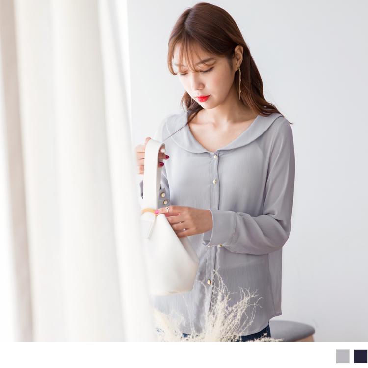 造型領綴珍珠釦質感雪紡襯衫.2色