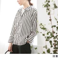 直紋X橫紋高含棉拼接雪紡假兩件襯衫.2色