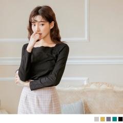 0922新品 波浪型領高含棉素色長袖上衣.5色