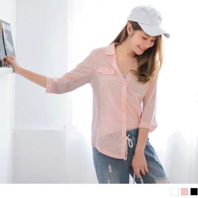 素面拼接彈性面料七分袖高含棉襯衫.3色