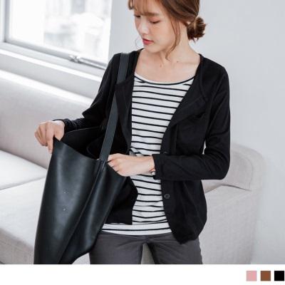 0921新品 素面兩件式內搭橫條紋圓領排釦口袋長袖上衣.3色