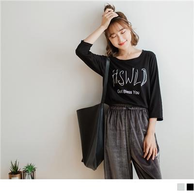 【新品免運】台灣製造.英文印字長版九分袖素色上衣.2色