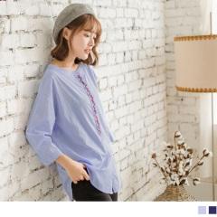 細格紋胸前刺袖七分袖高含棉圓領長版襯衫.2色