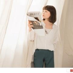 素色立領直條壓紋前短後長V領寬鬆上衣.2色