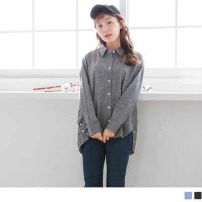 【買就抽機票】直條紋側襬開衩釦長版寬鬆襯衫