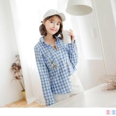 0922新品 可愛拼貼圖案格紋高含棉長袖襯衫.2色