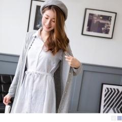 0921新品 附腰帶直條紋寬鬆長版襯衫洋裝.2色