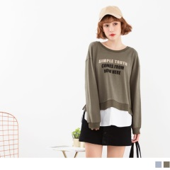 胸前印字側襬開衩假兩件高含棉拼接雪紡上衣.2色