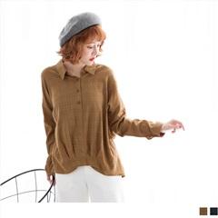 胸前排釦格紋前短後長下襬壓褶長袖襯衫領上衣.2色