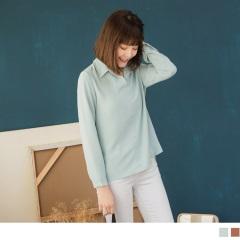 質感素色半開襟長袖雪紡上衣襯衫