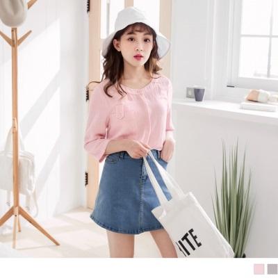 【新品免運】素色造型單口袋設計七分袖圓領襯衫上衣.2色