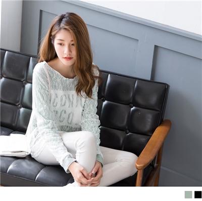 0930新品 滿版蕾絲英文印字素色長袖高含棉寬鬆上衣.2色