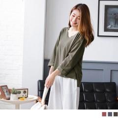 0922新品 素色前短後長側襬開衩不修邊寬鬆落肩上衣.3色