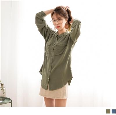 1005新品 輕薄柔質襯衫長袖上衣