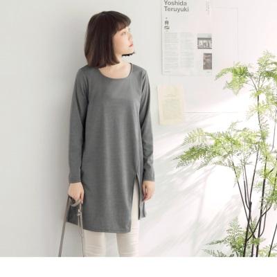 【買就抽機票】 灰色素面微側邊開衩剪裁設計圓領長版上衣
