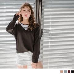 台灣製造.內拼橫條紋素色立體壓紋假兩件式上衣.4色