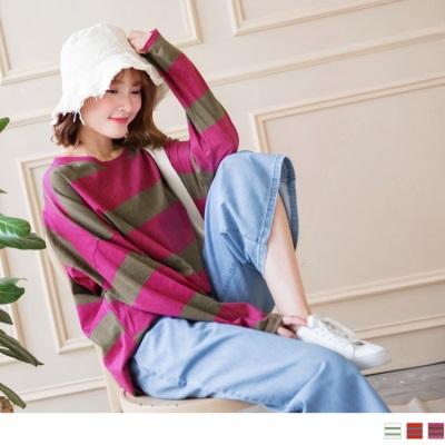 0925新品 高含棉寬橫條紋路上衣