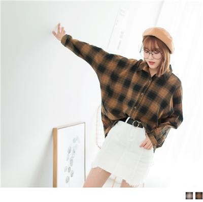 0929新品 高含棉寬鬆拼色格子襯衫