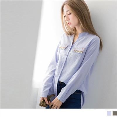 1003新品 雙口袋刺繡圖案V領襯衫