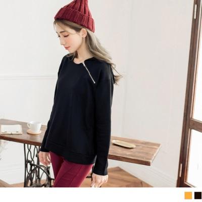 0928新品 領口斜拉鍊設計連帽上衣