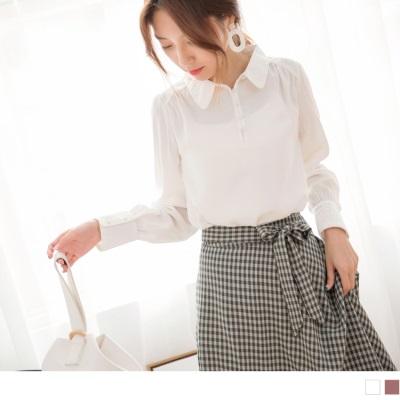 0920新品 胸前包布排釦寬鬆雪紡襯衫