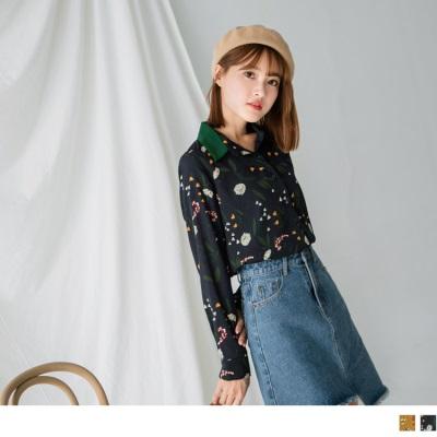0921新品 蒲公英燙印拼色襯衫領上衣