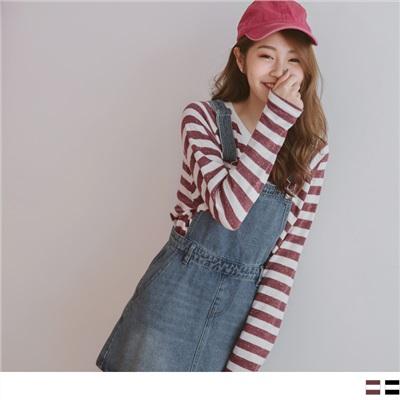0930新品 彩點造型橫條紋仿毛上衣