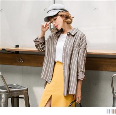 0928新品 高含棉拼色直條紋口袋襯衫