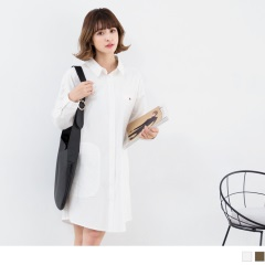 撞色造型釦高含棉襯衫洋裝