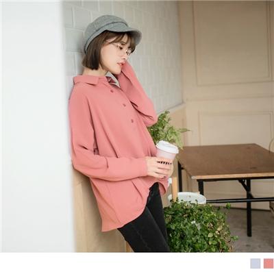 1026新品 素色質感垂墜雪紡長版襯衫