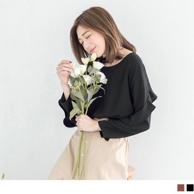 1011新品 質感荷葉造型袖雪紡上衣