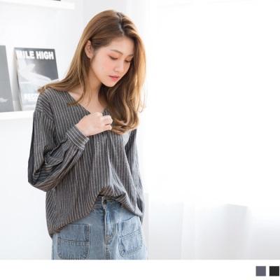 高含棉直條紋V領襯衫式上衣