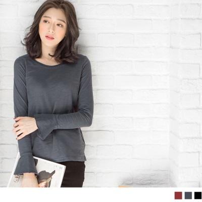 1025新品 高含棉素面荷葉袖造型上衣