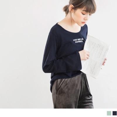 1025新品 台灣製造.英文印字高含棉長袖上衣