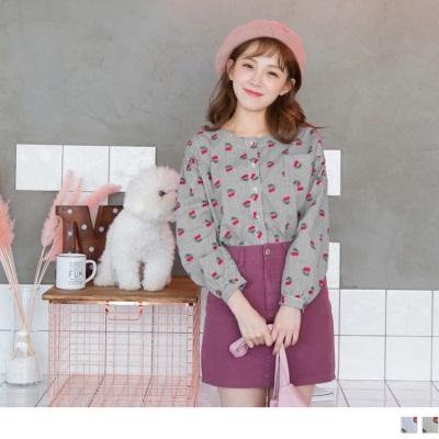 1027新品 高含棉滿版櫻桃直條紋襯衫
