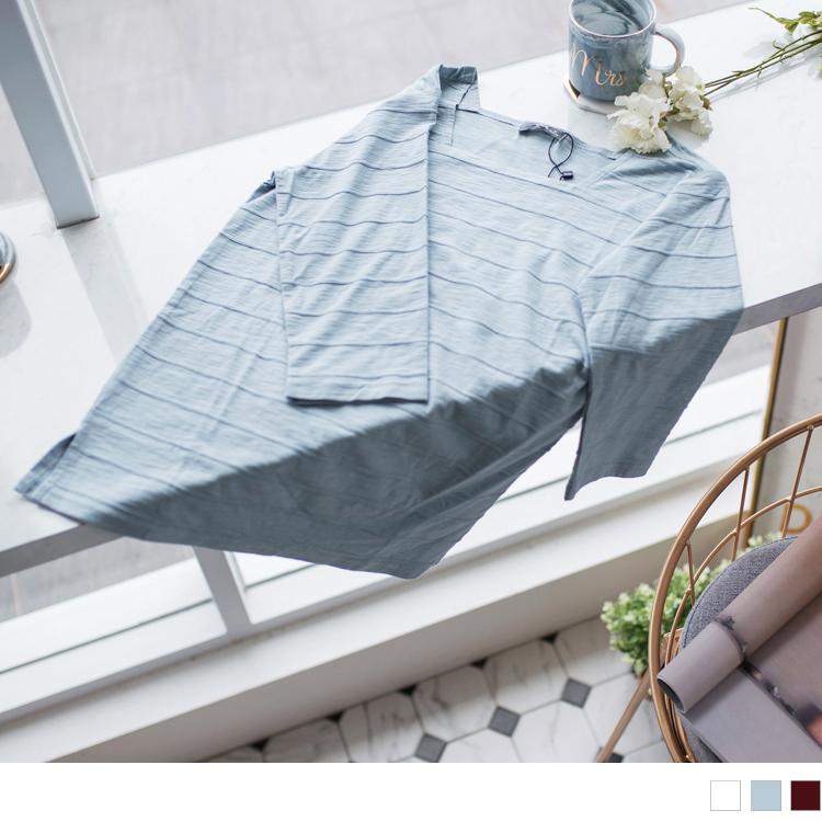 立體橫條紋方領高含棉七分袖上衣