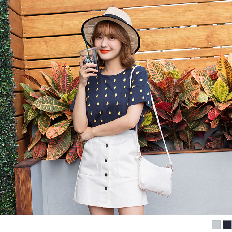 高含棉可愛滿版鳳梨印圖造型短袖上衣