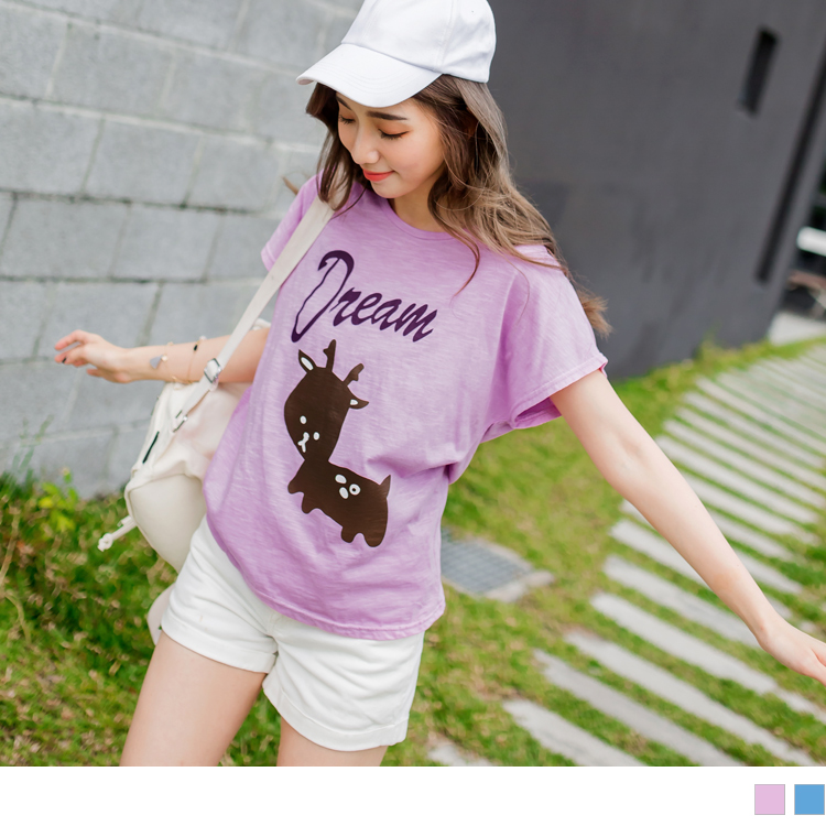 台湾制造.竹节棉可爱麋鹿英字T恤上衣